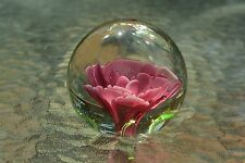 Vintage Pink Flower in Clear Glass, Made in China, M130
