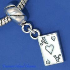 ACE OF HEARTS PLAYING CARD .925 Solid Sterling Silver EUROPEAN EURO Bead Charm