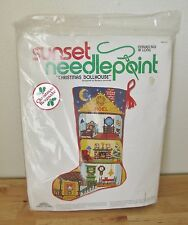 NEW VTG Sunset Christmas Dollhouse Needlepoint Cross Stitch Stocking Kit #6010