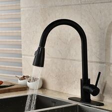 Oil Rubbed Bronze Swivel Pull Down Spout Kitchen Faucet Mixer Tap W/ Cover Plate