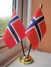 NORWAY X2 TABLE FLAG SET 2 flags plus GOLDEN BASE NORWEGIAN
