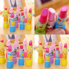 10pcs Lovely Lipstick shape Fruit Rubber Pencil Eraser Students Stationery Gift