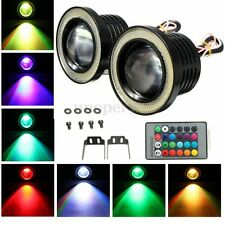 2x 3'' RGB LED COB Car Fog Light Lamp Projector DRL Angel Eyes Halo w/ Control