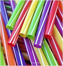 80 X  MULTICOLOURED JUMBO SMOOTHIE/MILKSHAKE DRINKING  STRAWS PARTY  (8MM)