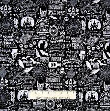 Halloween Fabric - Raven Skulls Ouija Word Black White - Timeless Treasures YARD