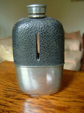 VINTAGE PEWTER /LEATHER HIP FLASK G& JW HAWKSLEY