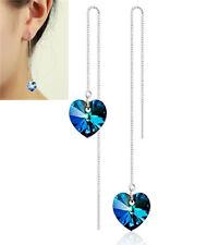 Lange Kette 925 Silber Herz Kristall Durchzieher Ohrhänger Ohrringe Ohrschmuck