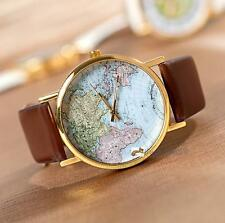World Map Globe Fashion Leather Alloy Womens Analog Quartz Watches Brown LN