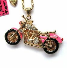 Betsey Johnson bright crystal pink enamel motorcycle pendant Necklace#589L,F