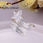 New Fashion Chic Silver Plated Retro Stars Rhinestone Crystal Ring Gift Cute LCF