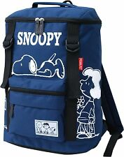 Peanut Snoopy Nylon Double Belt Square Backpack Navy From Japan