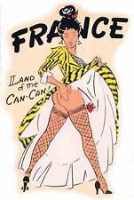 FRANCE   Pin-Up Gal   Vintage -1950's Looking Travel Decal Sticker Label