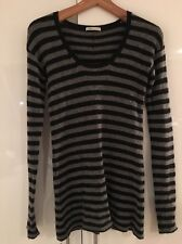 Vince Stretch Cashmere Striped Grey Black Scoop neck Sweater Jumper S Small