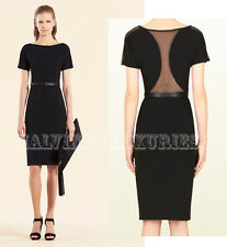 $1,995 GUCCI DRESS BLACK JERSEY MESH BACK w LEATHER BELT size M Medium