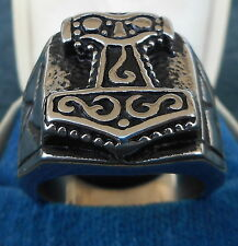 "GERMAN ""HAMMER OF THOR"" RUNIC SILVER RING"