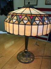 Antique Leaded Glass Arts And Crafts Table Lamp