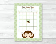 Mod Monkey Green Printable Baby Shower Bingo Cards