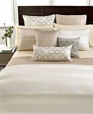 """Hotel Collection Woven Cord Pintucked 20"""" Square Decorative Pillow Beige M623"""