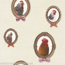 Very Unusual, Chickens in Frames, Cream Background, Washable Kitchen Wallpaper