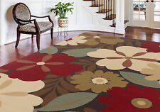 5x7 Modern Transitional Contemporay Floral Red Area Rug