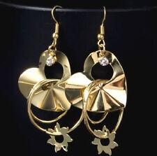 GOLD PLATED LOVE HEART, HOOP & CRYSTAL DROP DANGLE EARRINGS