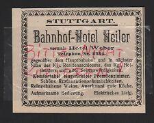 STUTTGART, Werbung 1912, Bahnhof-Hotel Heiler
