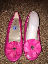 ME TOO Leigh Pink Leather Peep Toe Beaded Flower Skimmers Ballet Flats Size 7.5