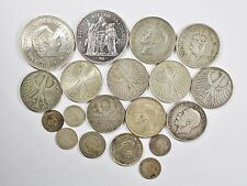 Vintage Silver World Coin Lot of (19) Mixed Silver Foreign Coins 177 grams