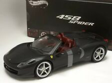 FERRARI 458 ITALIA SPIDER DIE CAST MATT BLACK 1/18 BY HOT WHEELS ELITE X5485
