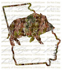 Camo Hog Boar over the GEORGIA State Outline Hunter Vinyl Decal Sticker Hunting