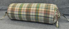 Neckroll Pillow made w Ralph Lauren Boat House Brown Plaid Fabric trim cord NEW
