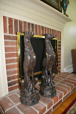 """30"""" 100% Real Bronze Dog Pair Greyhound set of 2 Home Garden Yard Art"""
