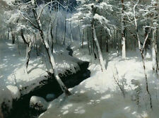 Art Oil painting Andrey Nikolaevich SHILDER - Stream in a wood winter landscape