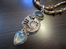 "925 Sterling Silver Signed VTG Big Shell Pendant w/Necklace 22"" = 55 Gr."