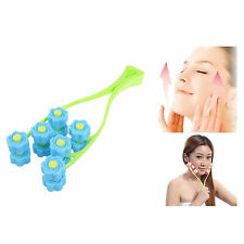 Flower Face Up Roller Massage Slimming Chin Facial Massager Relax Office Blue