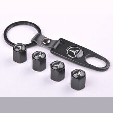 Black New Car Wheel Tire Valve Stem Air Cover Caps keychain For Mercedes Benz