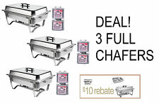 3 PACK DEAL FOLDING CHAFING  Dish Sets CHAFER WARMER CATERING 8 QT STAINLESS !!!