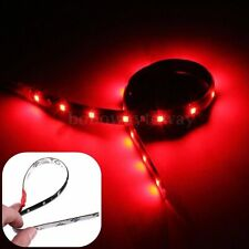 2X NEON FLESSIBILE STRISCE ADESIVE 30cm 15 LED WATERPROOF AUTO MOTO ROSSO DC 12V