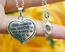 .925 Sterling Silver NECKLACE Dogs leave paw prints Heart Love Memorial Gift