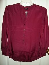 DAISY FUENTES RED BURGUNDY WINE BUTTON DOWN TOP BLOUSE XL 1X NWT