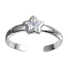 Tiny Star Toe Ring Sterling Silver Rhodium Plated Best Deal Jewelry Clear CZ