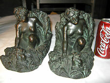ANTIQUE KBW BRONZE CLAD GARDEN NUDE LADY & MICE ART STATUE SCULPTURE LG BOOKENDS