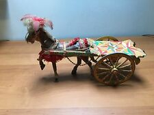 Vintage Sicilian Circus horse toy. Paper Mache, feathers wood. Absolutely LOVELY