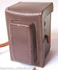 """Leather TLR Case 3.25"""" Wide 3.5"""" Deep Body 5.5"""" Tall - VINTAGE E19"""