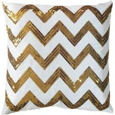 "Decorative Sequins Zig-Zag Pattern Throw Pillow COVER 18"" Gold New"