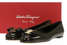 NEW SALVATORE FERRAGAMO VARINA BLACK PATENT LEATHER BALLET FLATS SHOES  7  C