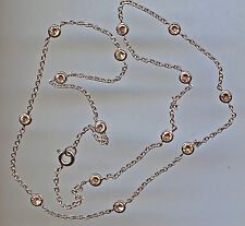"""925 SILVER SINGLE STRAND 3 CARAT TW 18"""" RUSSIAN CZ BY THE YARD NECKLACE"""