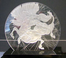 "Guillaume Azoulay ""Sagitaire"" Crystal with light&pedestal Hand Signed horse"