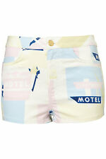 TOPSHOP MOTO printed hotpants UK 12 in Pale Pink/Multi - New with tags