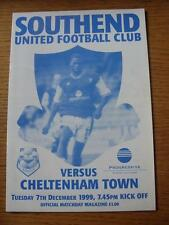 07/12/1999 Southend United v Cheltenham Town [Auto Windscreen Shield] (No appare